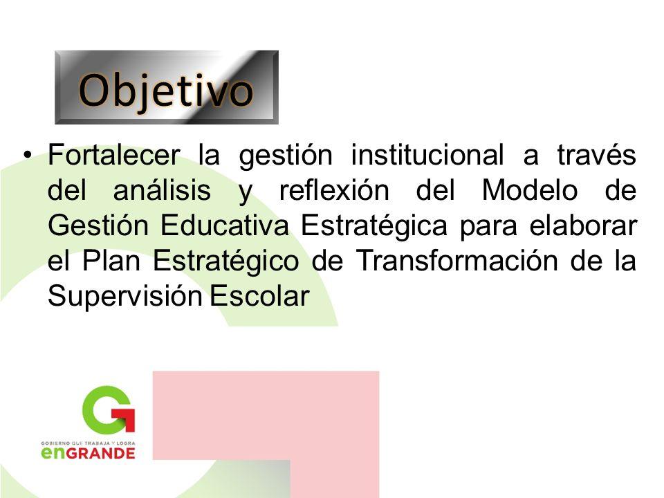 Fortalecer la gestión institucional a través del análisis y reflexión del Modelo de Gestión Educativa Estratégica para elaborar el Plan Estratégico de