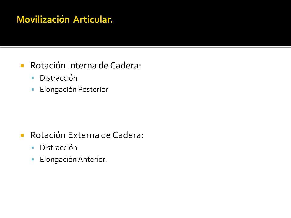 Rotación Interna de Cadera: Distracción Elongación Posterior Rotación Externa de Cadera: Distracción Elongación Anterior.