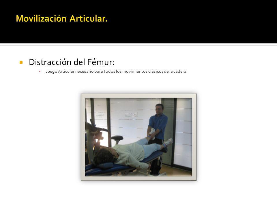 Distracción del Fémur: Juego Articular necesario para todos los movimientos clásicos de la cadera.