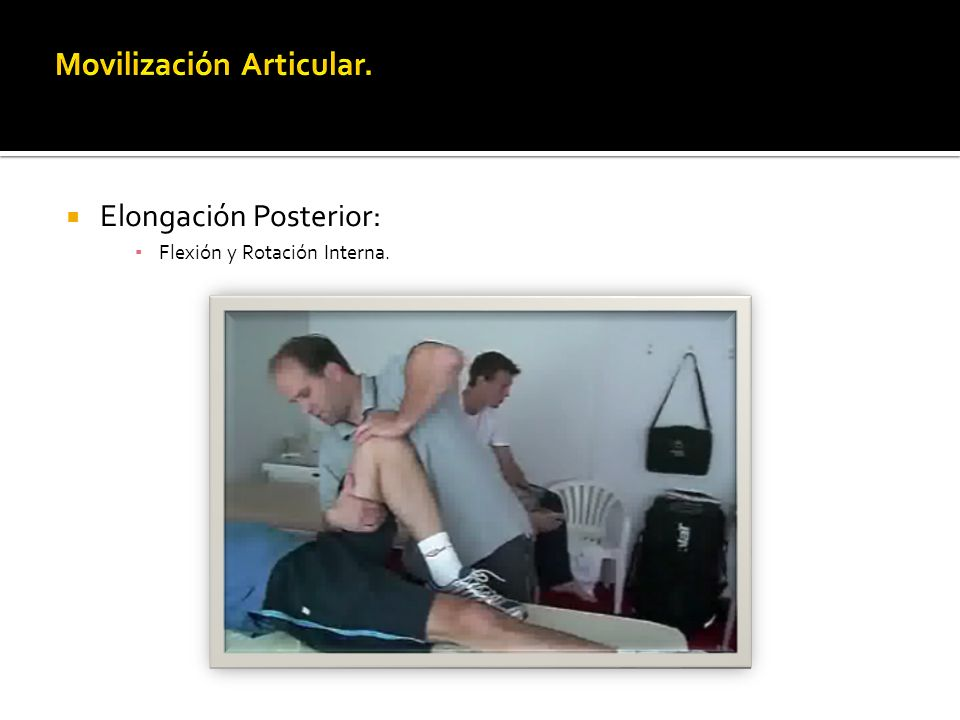 Elongación Posterior: Flexión y Rotación Interna.
