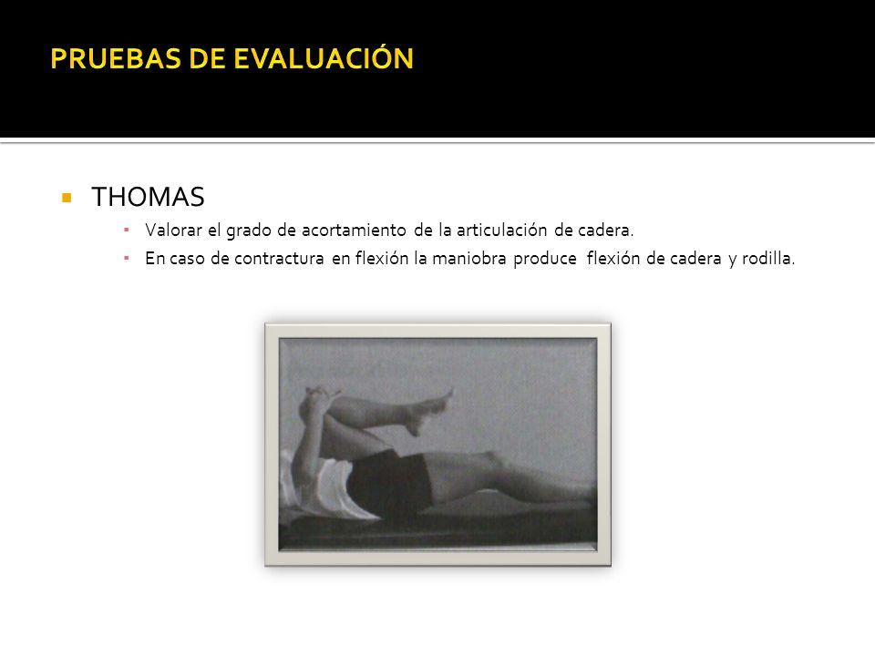 THOMAS Valorar el grado de acortamiento de la articulación de cadera.