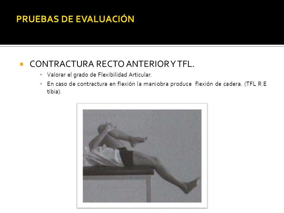 CONTRACTURA RECTO ANTERIOR Y TFL. Valorar el grado de Flexibilidad Articular. En caso de contractura en flexión la maniobra produce flexión de cadera.