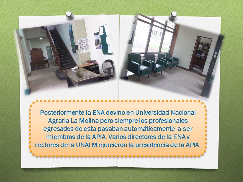 Posteriormente la ENA devino en Universidad Nacional Agraria La Molina pero siempre los profesionales egresados de esta pasaban automáticamente a ser miembros de la APIA.
