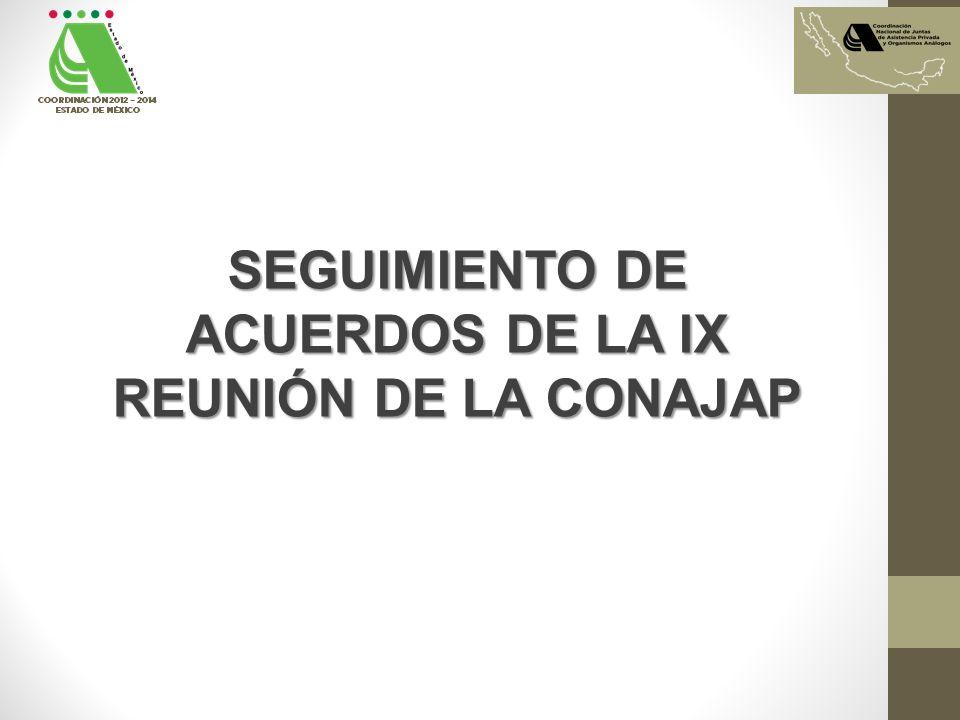 SEGUIMIENTO DE ACUERDOS DE LA IX REUNIÓN DE LA CONAJAP