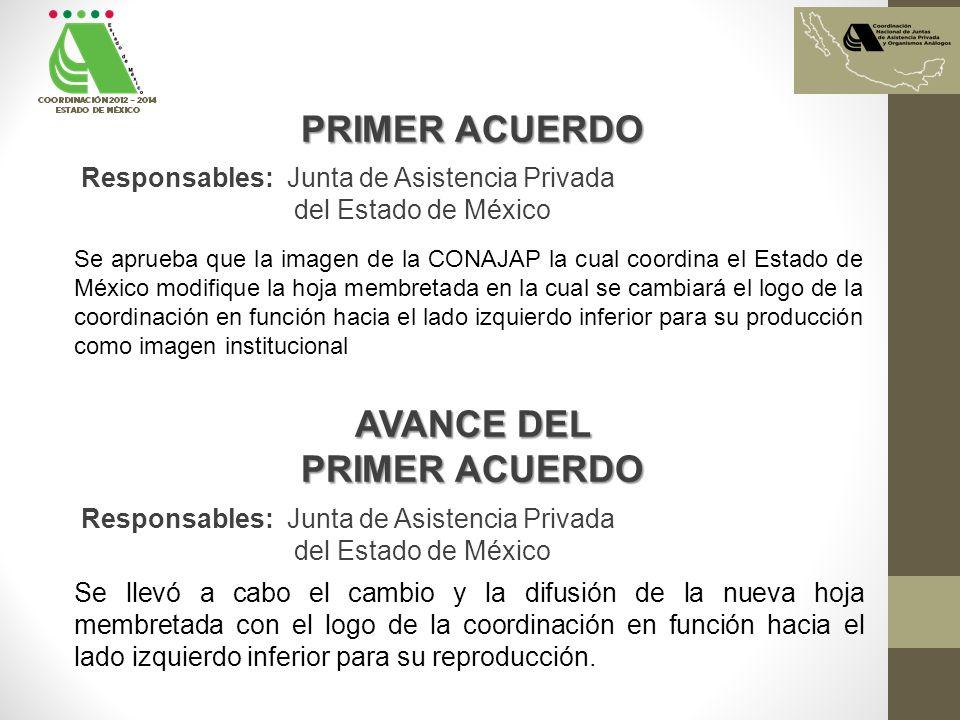 PRIMER ACUERDO Se aprueba que la imagen de la CONAJAP la cual coordina el Estado de México modifique la hoja membretada en la cual se cambiará el logo