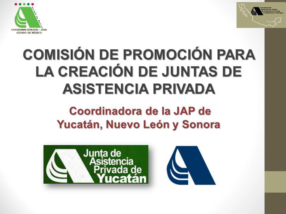COMISIÓN DE PROMOCIÓN PARA LA CREACIÓN DE JUNTAS DE ASISTENCIA PRIVADA Coordinadora de la JAP de Coordinadora de la JAP de Yucatán, Nuevo León y Sonora