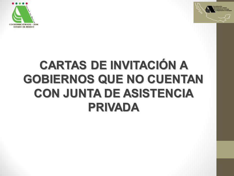 CARTAS DE INVITACIÓN A GOBIERNOS QUE NO CUENTAN CON JUNTA DE ASISTENCIA PRIVADA