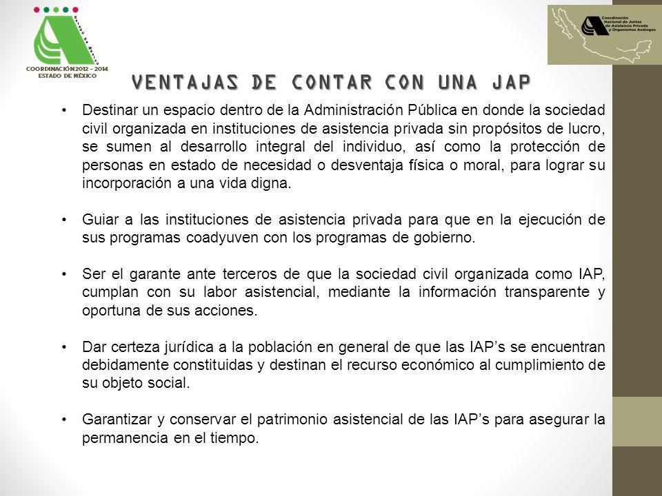 VENTAJAS DE CONTAR CON UNA JAP Destinar un espacio dentro de la Administración Pública en donde la sociedad civil organizada en instituciones de asist