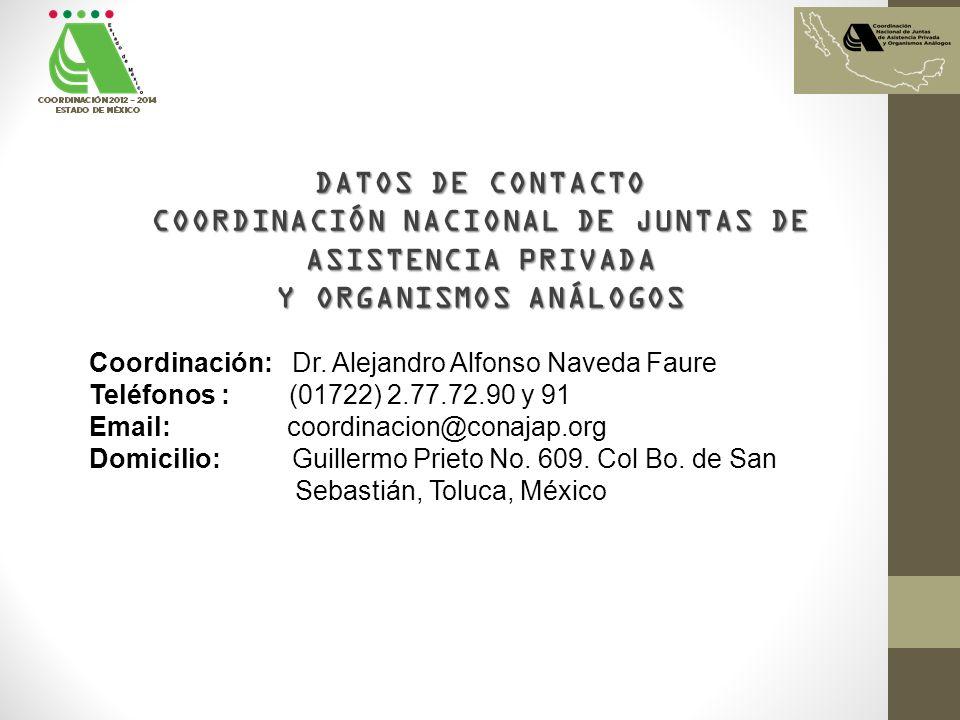 DATOS DE CONTACTO COORDINACIÓN NACIONAL DE JUNTAS DE ASISTENCIA PRIVADA Y ORGANISMOS ANÁLOGOS Coordinación: Dr. Alejandro Alfonso Naveda Faure Teléfon