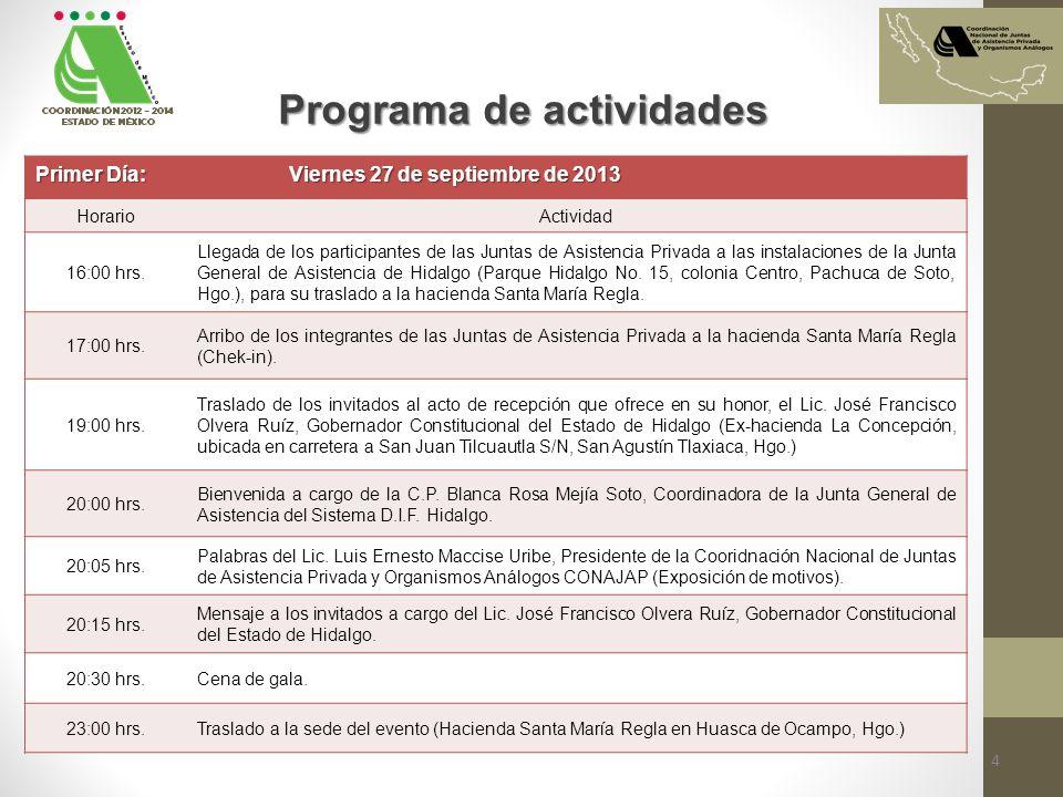 Primer Día: Viernes 27 de septiembre de 2013 HorarioActividad 16:00 hrs. Llegada de los participantes de las Juntas de Asistencia Privada a las instal
