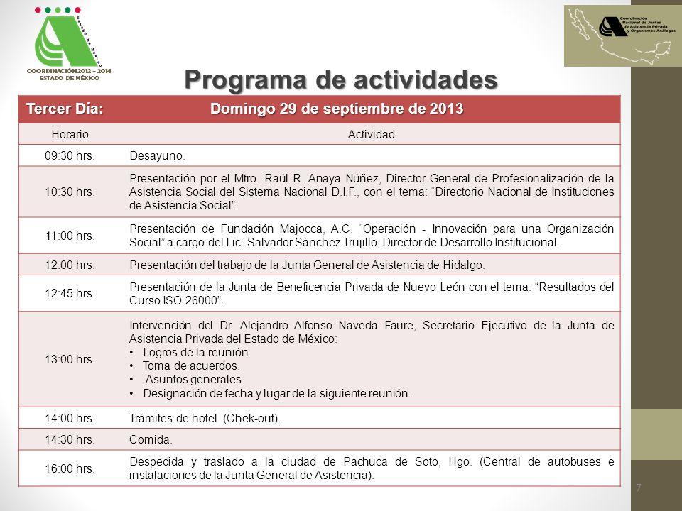Programa de actividades Tercer Día: Domingo 29 de septiembre de 2013 HorarioActividad 09:30 hrs.Desayuno. 10:30 hrs. Presentación por el Mtro. Raúl R.