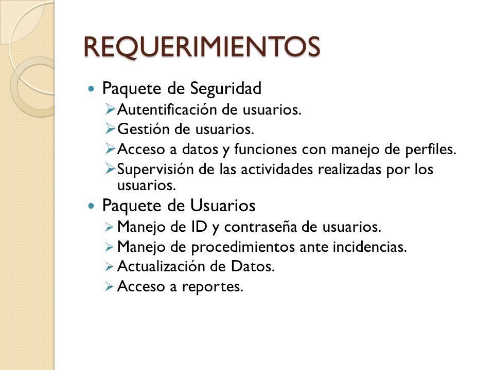 REQUERIMIENTOS Paquete de Seguridad Autentificación de usuarios. Gestión de usuarios. Acceso a datos y funciones con manejo de perfiles. Supervisión d