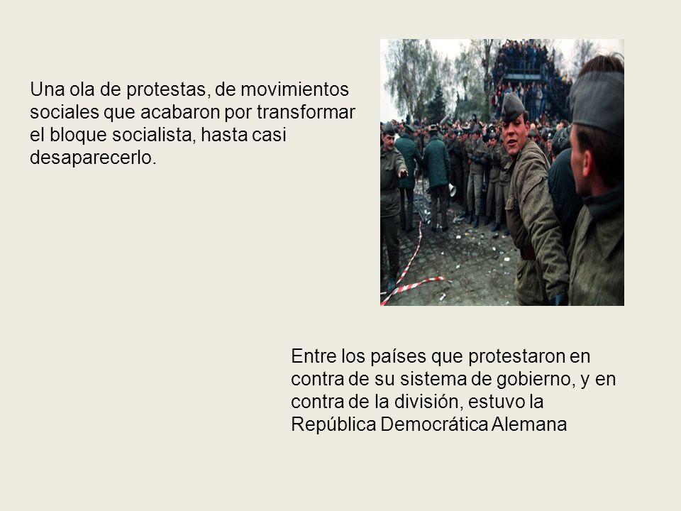 Una ola de protestas, de movimientos sociales que acabaron por transformar el bloque socialista, hasta casi desaparecerlo. Entre los países que protes