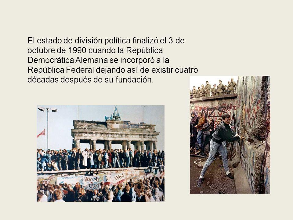 El estado de división política finalizó el 3 de octubre de 1990 cuando la República Democrática Alemana se incorporó a la República Federal dejando as