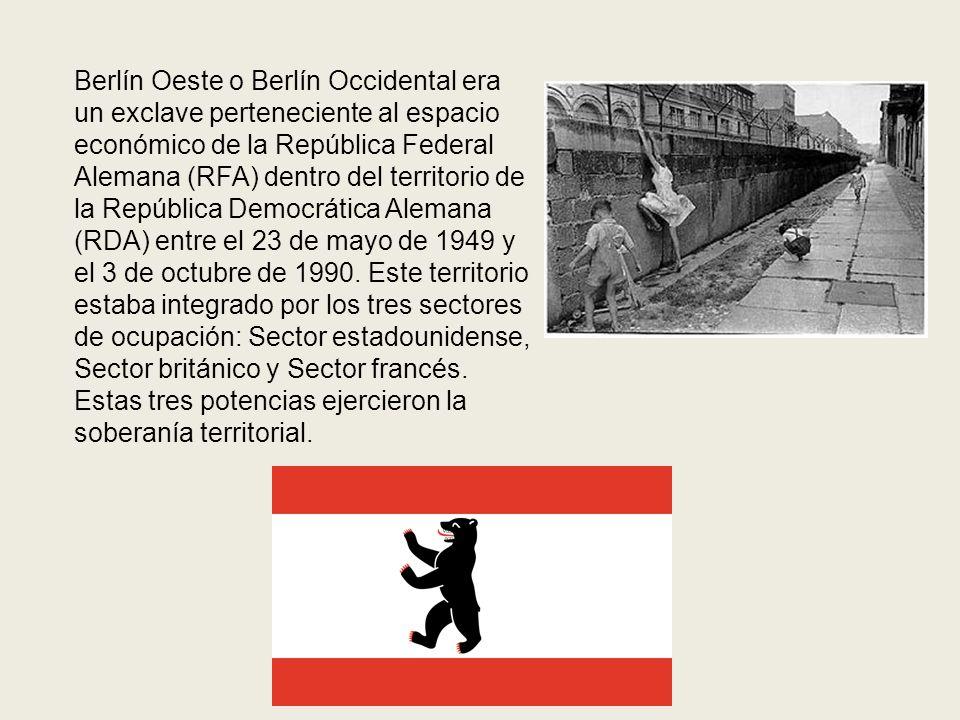 Berlín Oeste o Berlín Occidental era un exclave perteneciente al espacio económico de la República Federal Alemana (RFA) dentro del territorio de la R