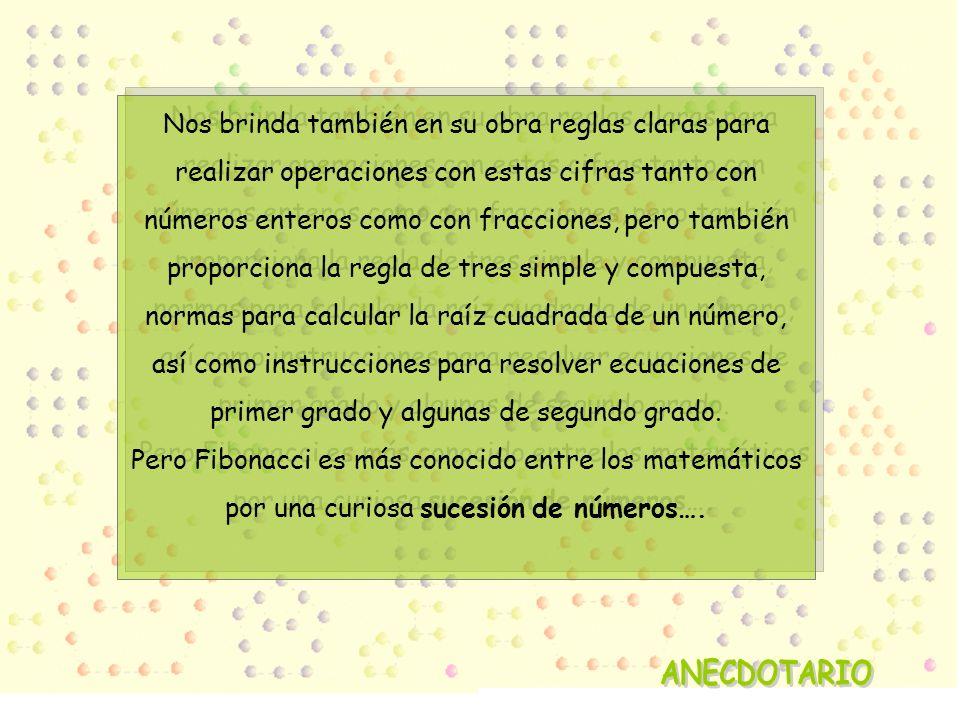 Nos brinda también en su obra reglas claras para realizar operaciones con estas cifras tanto con números enteros como con fracciones, pero también proporciona la regla de tres simple y compuesta, normas para calcular la raíz cuadrada de un número, así como instrucciones para resolver ecuaciones de primer grado y algunas de segundo grado.