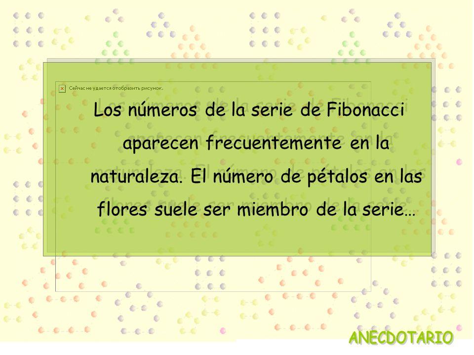 Los números de la serie de Fibonacci aparecen frecuentemente en la naturaleza. El número de pétalos en las flores suele ser miembro de la serie…