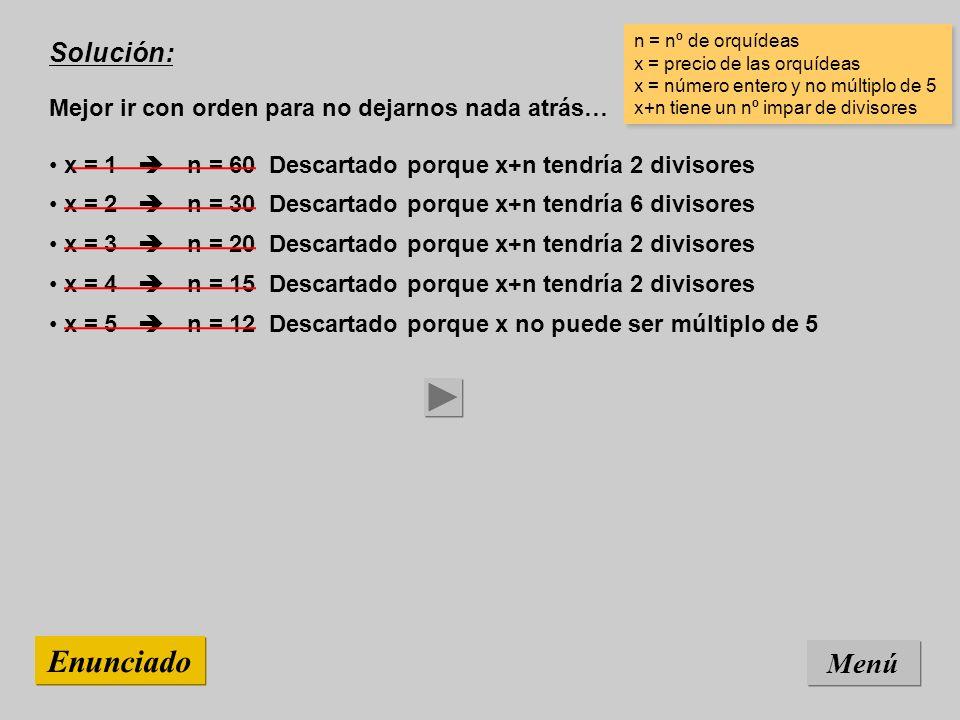 Solución: Mejor ir con orden para no dejarnos nada atrás… Menú Enunciado x = 5 n = 12 Descartado porque x no puede ser múltiplo de 5 x = 4 n = 15 Descartado porque x+n tendría 2 divisores x = 3 n = 20 Descartado porque x+n tendría 2 divisores x = 2 n = 30 Descartado porque x+n tendría 6 divisores x = 1 n = 60 Descartado porque x+n tendría 2 divisores n = nº de orquídeas x = precio de las orquídeas x = número entero y no múltiplo de 5 x+n tiene un nº impar de divisores n = nº de orquídeas x = precio de las orquídeas x = número entero y no múltiplo de 5 x+n tiene un nº impar de divisores