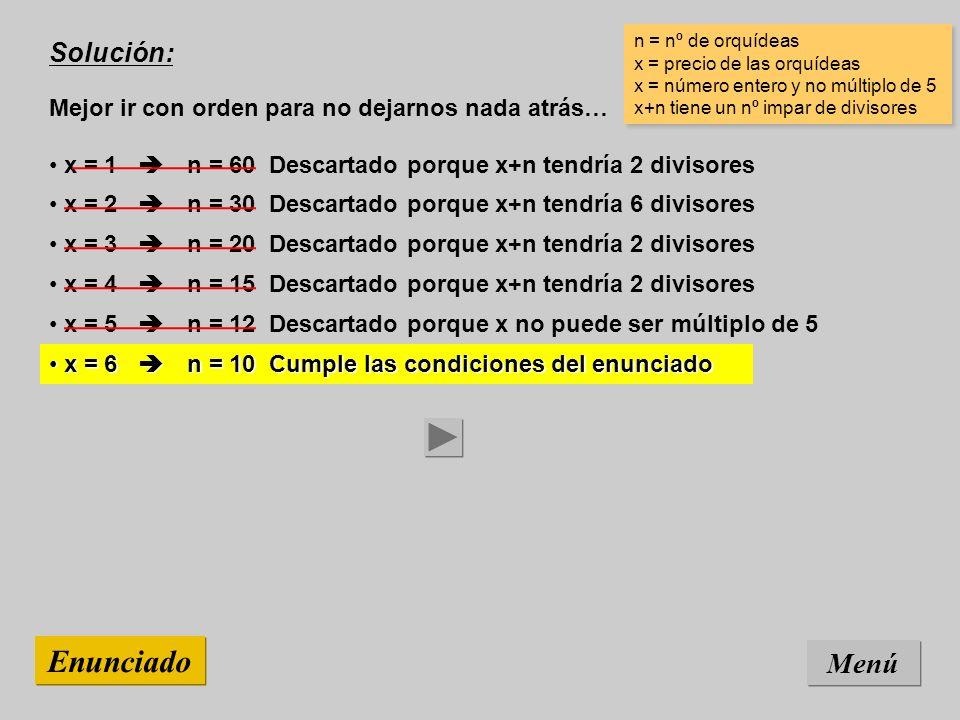 Solución: Mejor ir con orden para no dejarnos nada atrás… Menú Enunciado x = 6 n = 10 Cumple las condiciones del enunciado x = 6 n = 10 Cumple las condiciones del enunciado n = nº de orquídeas x = precio de las orquídeas x = número entero y no múltiplo de 5 x+n tiene un nº impar de divisores n = nº de orquídeas x = precio de las orquídeas x = número entero y no múltiplo de 5 x+n tiene un nº impar de divisores x = 5 n = 12 Descartado porque x no puede ser múltiplo de 5 x = 4 n = 15 Descartado porque x+n tendría 2 divisores x = 3 n = 20 Descartado porque x+n tendría 2 divisores x = 2 n = 30 Descartado porque x+n tendría 6 divisores x = 1 n = 60 Descartado porque x+n tendría 2 divisores