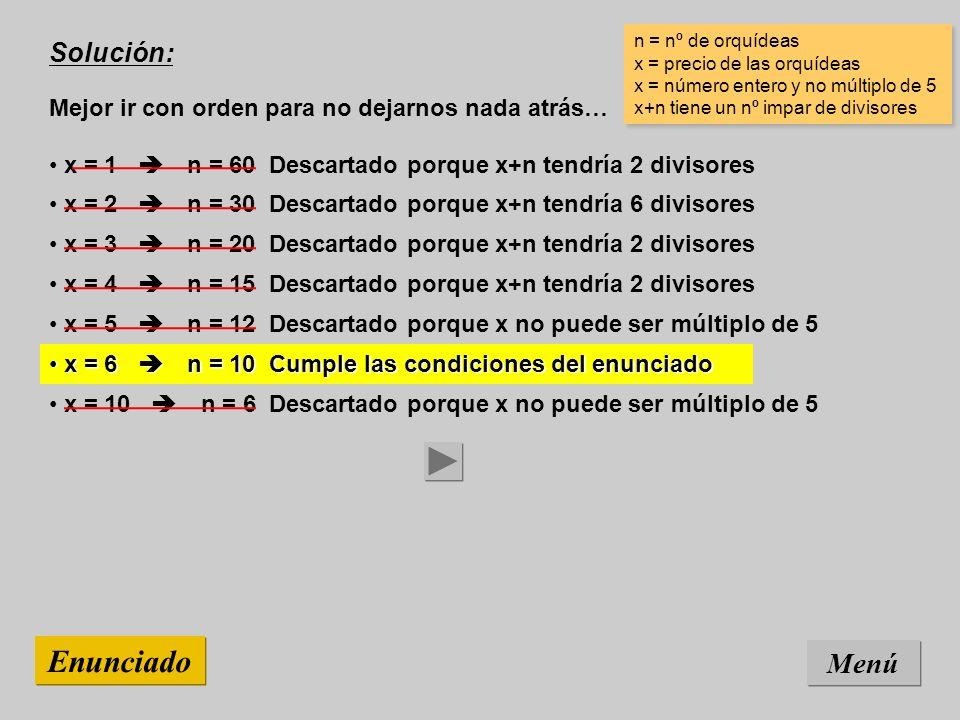 Solución: Mejor ir con orden para no dejarnos nada atrás… Menú Enunciado x = 10 n = 6 Descartado porque x no puede ser múltiplo de 5 n = nº de orquídeas x = precio de las orquídeas x = número entero y no múltiplo de 5 x+n tiene un nº impar de divisores n = nº de orquídeas x = precio de las orquídeas x = número entero y no múltiplo de 5 x+n tiene un nº impar de divisores x = 6 n = 10 Cumple las condiciones del enunciado x = 6 n = 10 Cumple las condiciones del enunciado x = 5 n = 12 Descartado porque x no puede ser múltiplo de 5 x = 4 n = 15 Descartado porque x+n tendría 2 divisores x = 3 n = 20 Descartado porque x+n tendría 2 divisores x = 2 n = 30 Descartado porque x+n tendría 6 divisores x = 1 n = 60 Descartado porque x+n tendría 2 divisores