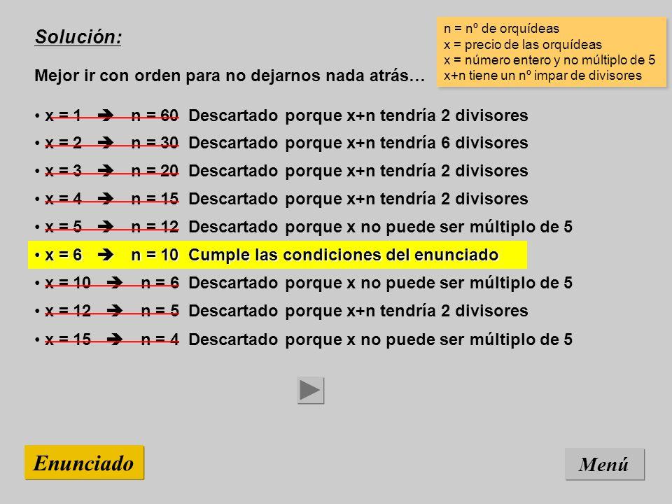 Solución: Mejor ir con orden para no dejarnos nada atrás… Menú Enunciado x = 15 n = 4 Descartado porque x no puede ser múltiplo de 5 n = nº de orquídeas x = precio de las orquídeas x = número entero y no múltiplo de 5 x+n tiene un nº impar de divisores n = nº de orquídeas x = precio de las orquídeas x = número entero y no múltiplo de 5 x+n tiene un nº impar de divisores x = 12 n = 5 Descartado porque x+n tendría 2 divisores x = 10 n = 6 Descartado porque x no puede ser múltiplo de 5 x = 6 n = 10 Cumple las condiciones del enunciado x = 6 n = 10 Cumple las condiciones del enunciado x = 5 n = 12 Descartado porque x no puede ser múltiplo de 5 x = 4 n = 15 Descartado porque x+n tendría 2 divisores x = 3 n = 20 Descartado porque x+n tendría 2 divisores x = 2 n = 30 Descartado porque x+n tendría 6 divisores x = 1 n = 60 Descartado porque x+n tendría 2 divisores