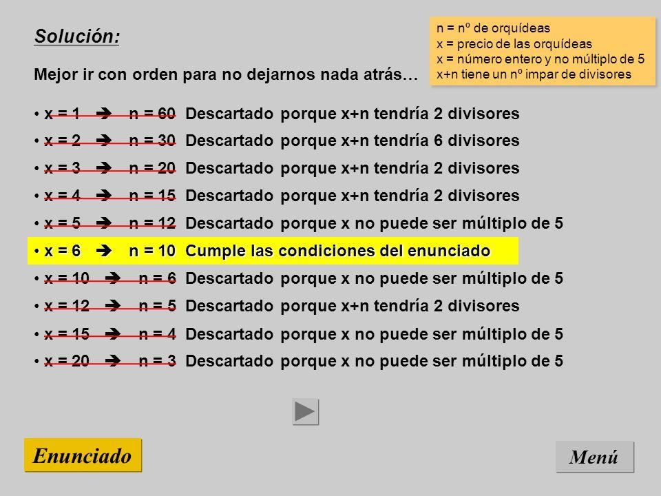 Solución: Mejor ir con orden para no dejarnos nada atrás… Menú Enunciado x = 15 n = 4 Descartado porque x no puede ser múltiplo de 5 n = nº de orquídeas x = precio de las orquídeas x = número entero y no múltiplo de 5 x+n tiene un nº impar de divisores n = nº de orquídeas x = precio de las orquídeas x = número entero y no múltiplo de 5 x+n tiene un nº impar de divisores x = 12 n = 5 Descartado porque x+n tendría 2 divisores x = 10 n = 6 Descartado porque x no puede ser múltiplo de 5 x = 6 n = 10 Cumple las condiciones del enunciado x = 6 n = 10 Cumple las condiciones del enunciado x = 5 n = 12 Descartado porque x no puede ser múltiplo de 5 x = 4 n = 15 Descartado porque x+n tendría 2 divisores x = 3 n = 20 Descartado porque x+n tendría 2 divisores x = 2 n = 30 Descartado porque x+n tendría 6 divisores x = 1 n = 60 Descartado porque x+n tendría 2 divisores x = 20 n = 3 Descartado porque x no puede ser múltiplo de 5