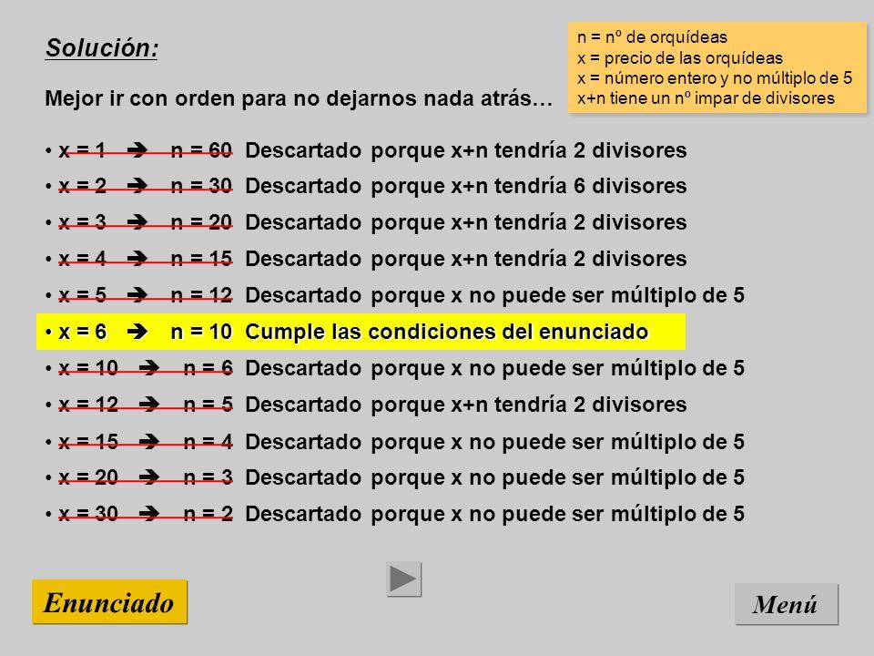 x = 15 n = 4 Descartado porque x no puede ser múltiplo de 5 x = 12 n = 5 Descartado porque x+n tendría 2 divisores x = 10 n = 6 Descartado porque x no puede ser múltiplo de 5 x = 6 n = 10 Cumple las condiciones del enunciado x = 6 n = 10 Cumple las condiciones del enunciado x = 5 n = 12 Descartado porque x no puede ser múltiplo de 5 x = 4 n = 15 Descartado porque x+n tendría 2 divisores x = 3 n = 20 Descartado porque x+n tendría 2 divisores x = 2 n = 30 Descartado porque x+n tendría 6 divisores x = 1 n = 60 Descartado porque x+n tendría 2 divisores x = 20 n = 3 Descartado porque x no puede ser múltiplo de 5 Solución: Mejor ir con orden para no dejarnos nada atrás… Menú Enunciado n = nº de orquídeas x = precio de las orquídeas x = número entero y no múltiplo de 5 x+n tiene un nº impar de divisores n = nº de orquídeas x = precio de las orquídeas x = número entero y no múltiplo de 5 x+n tiene un nº impar de divisores x = 30 n = 2 Descartado porque x no puede ser múltiplo de 5