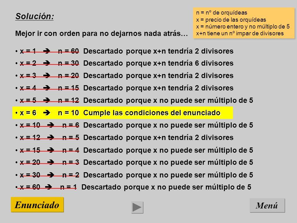 x = 15 n = 4 Descartado porque x no puede ser múltiplo de 5 x = 12 n = 5 Descartado porque x+n tendría 2 divisores x = 10 n = 6 Descartado porque x no puede ser múltiplo de 5 x = 6 n = 10 Cumple las condiciones del enunciado x = 6 n = 10 Cumple las condiciones del enunciado x = 5 n = 12 Descartado porque x no puede ser múltiplo de 5 x = 4 n = 15 Descartado porque x+n tendría 2 divisores x = 3 n = 20 Descartado porque x+n tendría 2 divisores x = 2 n = 30 Descartado porque x+n tendría 6 divisores x = 1 n = 60 Descartado porque x+n tendría 2 divisores x = 20 n = 3 Descartado porque x no puede ser múltiplo de 5 Solución: Mejor ir con orden para no dejarnos nada atrás… Menú Enunciado n = nº de orquídeas x = precio de las orquídeas x = número entero y no múltiplo de 5 x+n tiene un nº impar de divisores n = nº de orquídeas x = precio de las orquídeas x = número entero y no múltiplo de 5 x+n tiene un nº impar de divisores x = 60 n = 1 Descartado porque x no puede ser múltiplo de 5 x = 30 n = 2 Descartado porque x no puede ser múltiplo de 5