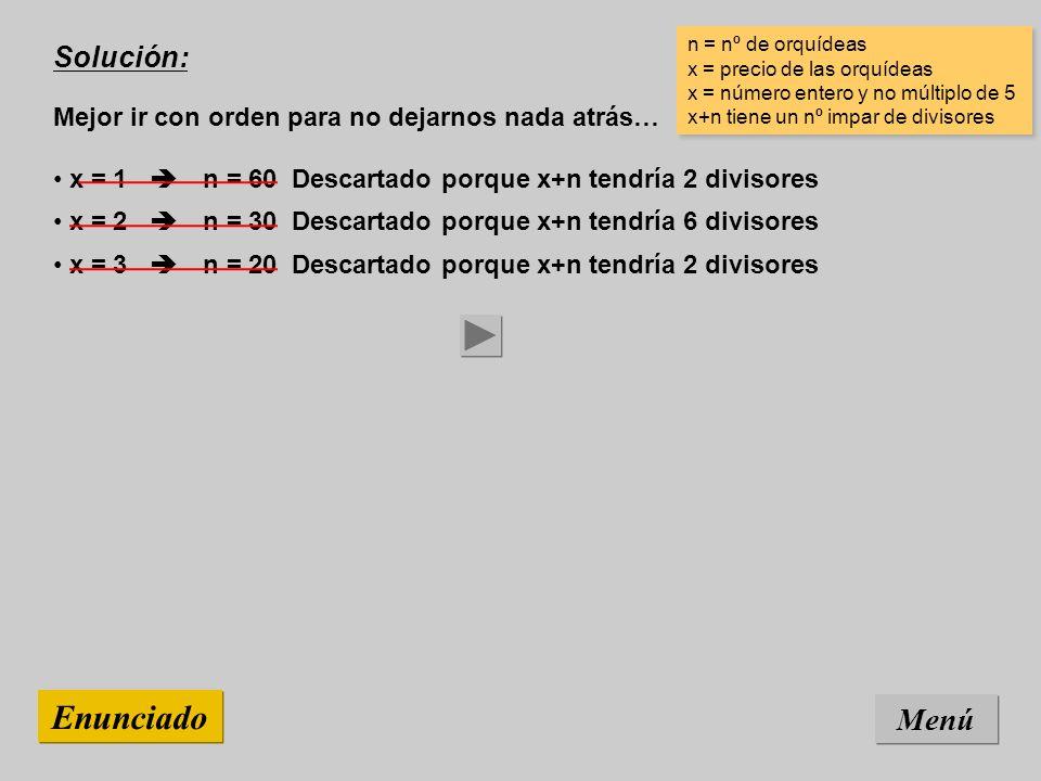 Solución: Mejor ir con orden para no dejarnos nada atrás… Menú Enunciado x = 3 n = 20 Descartado porque x+n tendría 2 divisores x = 2 n = 30 Descartad