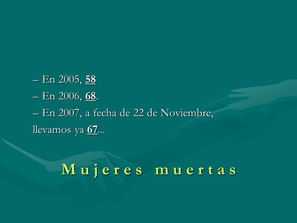 –En 2005, 58 –En 2006, 68. –En 2007, a fecha de 22 de Noviembre, llevamos ya 67... M u j e r e s m u e r t a s