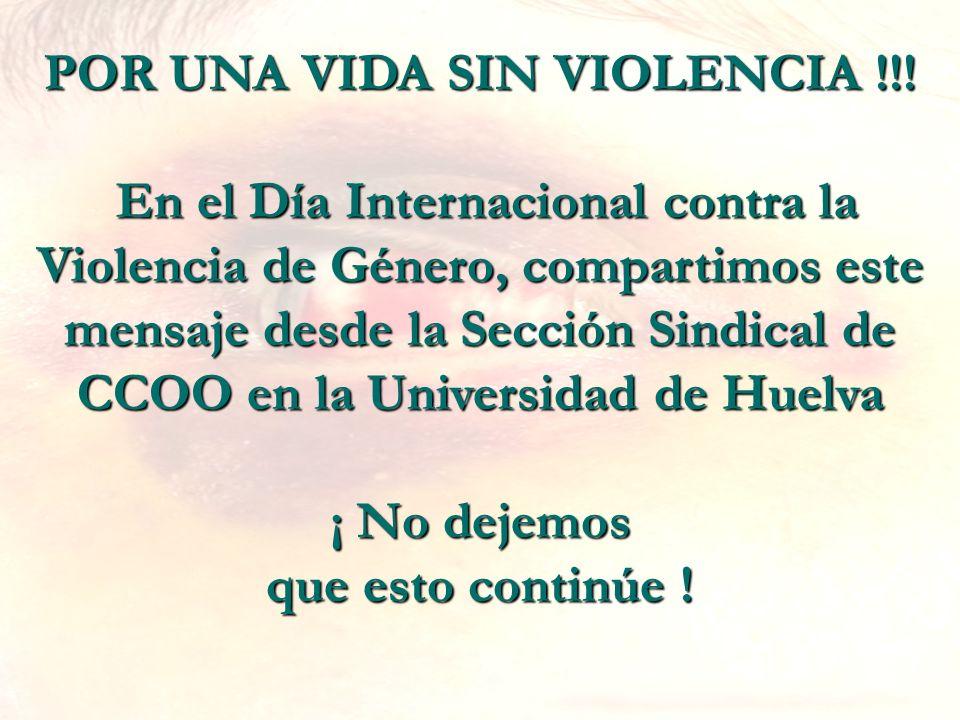 POR UNA VIDA SIN VIOLENCIA !!! En el Día Internacional contra la Violencia de Género, compartimos este mensaje desde la Sección Sindical de CCOO en la