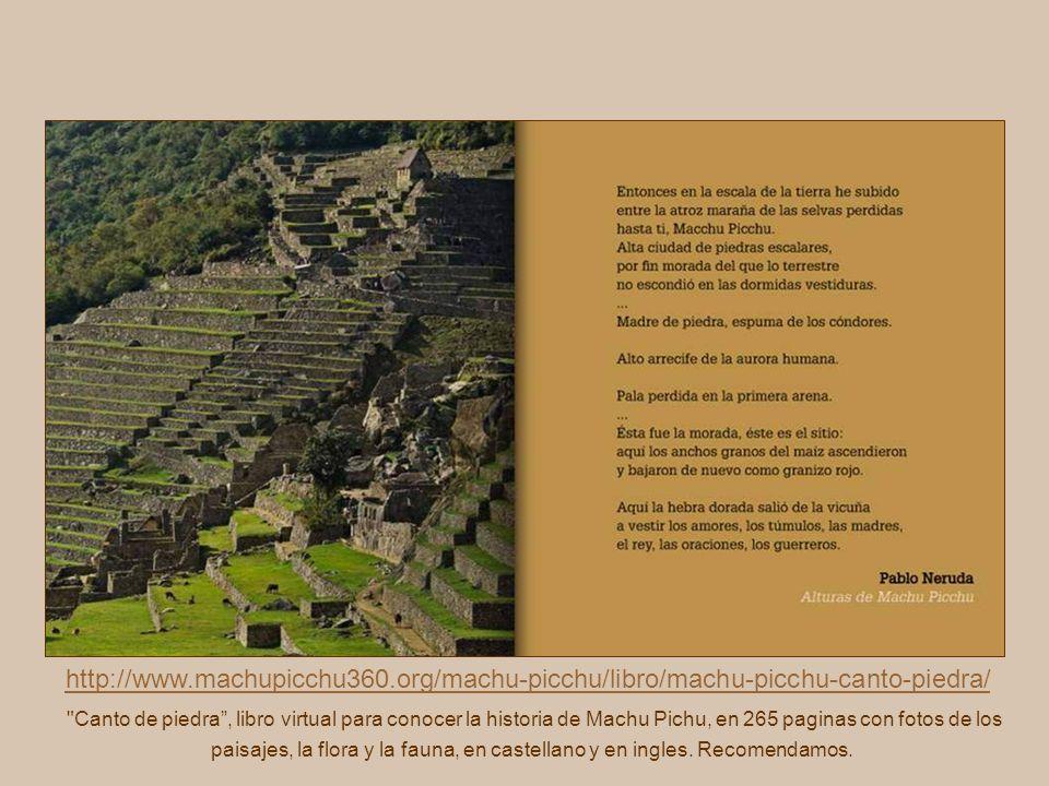 http://www.machupicchu360.org/machu-picchu/libro/machu-picchu-canto-piedra/ Canto de piedra, libro virtual para conocer la historia de Machu Pichu, en 265 paginas con fotos de los paisajes, la flora y la fauna, en castellano y en ingles.