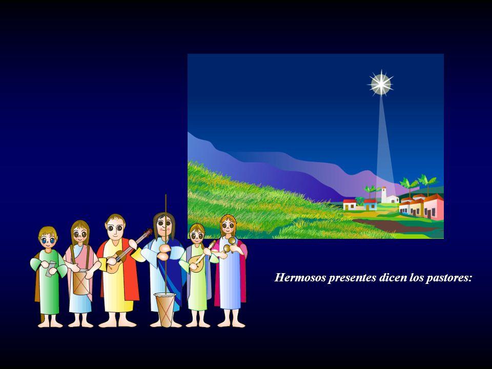 Los tres Reyes Magos vienen del Oriente y le traen al Niño hermosos presentes.