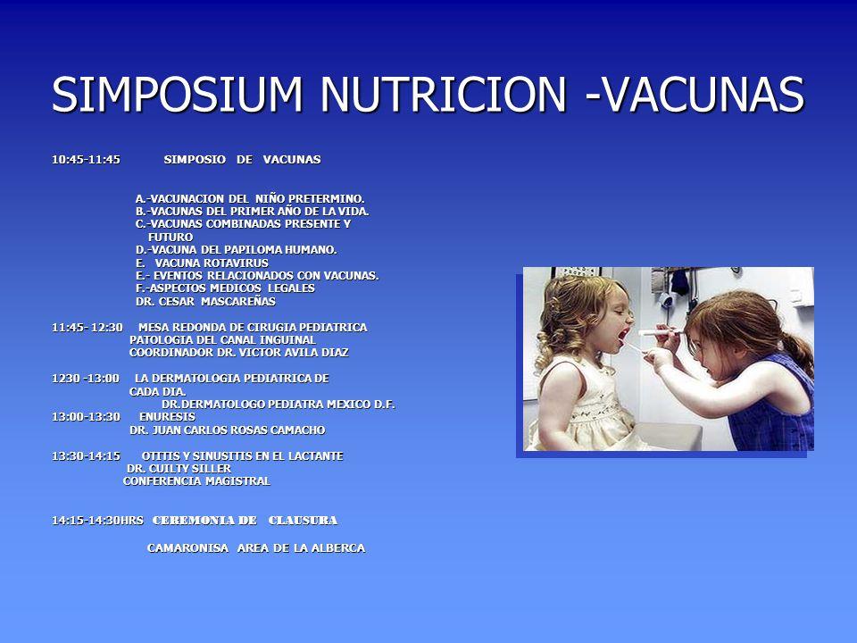 SIMPOSIUM NUTRICION -VACUNAS 10:45-11:45 SIMPOSIO DE VACUNAS A.-VACUNACION DEL NIÑO PRETERMINO. A.-VACUNACION DEL NIÑO PRETERMINO. B.-VACUNAS DEL PRIM
