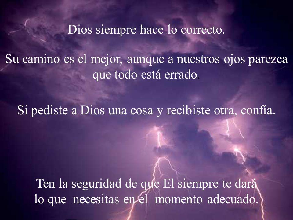 Dios siempre hace lo correcto. Su camino es el mejor, aunque a nuestros ojos parezca que todo está errado. Si pediste a Dios una cosa y recibiste otra