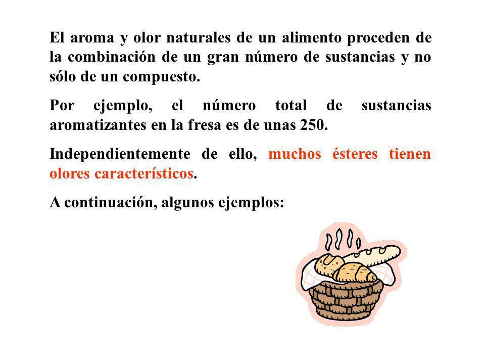 El aroma y olor naturales de un alimento proceden de la combinación de un gran número de sustancias y no sólo de un compuesto.