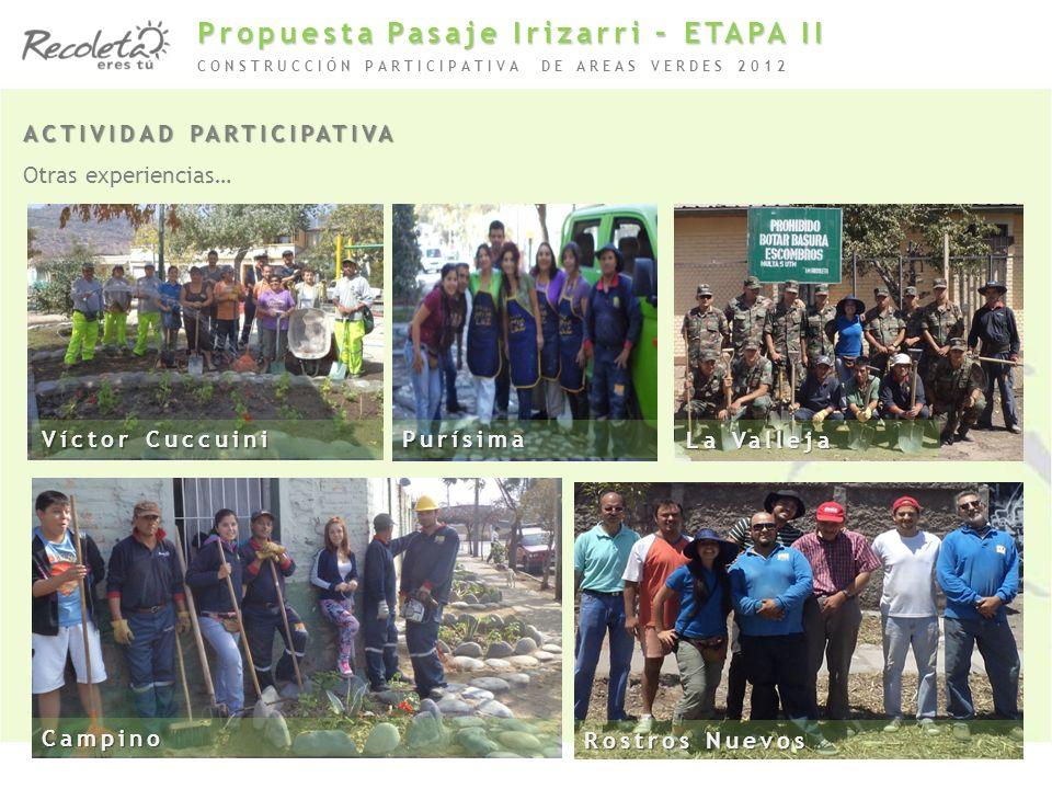 ACTIVIDAD PARTICIPATIVA Otras experiencias… CONSTRUCCIÓN PARTICIPATIVA DE AREAS VERDES 2012 Víctor Cuccuini Campino Rostros Nuevos Purísima La Valleja