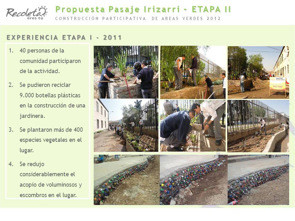 1.40 personas de la comunidad participaron de la actividad. 2.Se pudieron reciclar 9.000 botellas plásticas en la construcción de una jardinera. 3.Se