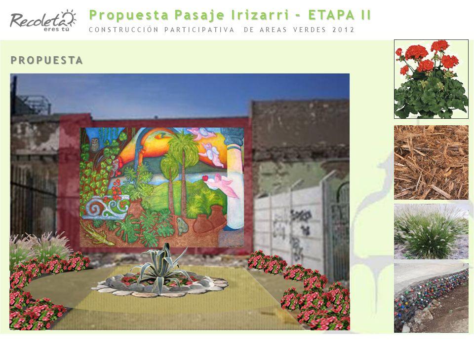 PROPUESTA CONSTRUCCIÓN PARTICIPATIVA DE AREAS VERDES 2012 Propuesta Pasaje Irizarri – ETAPA II