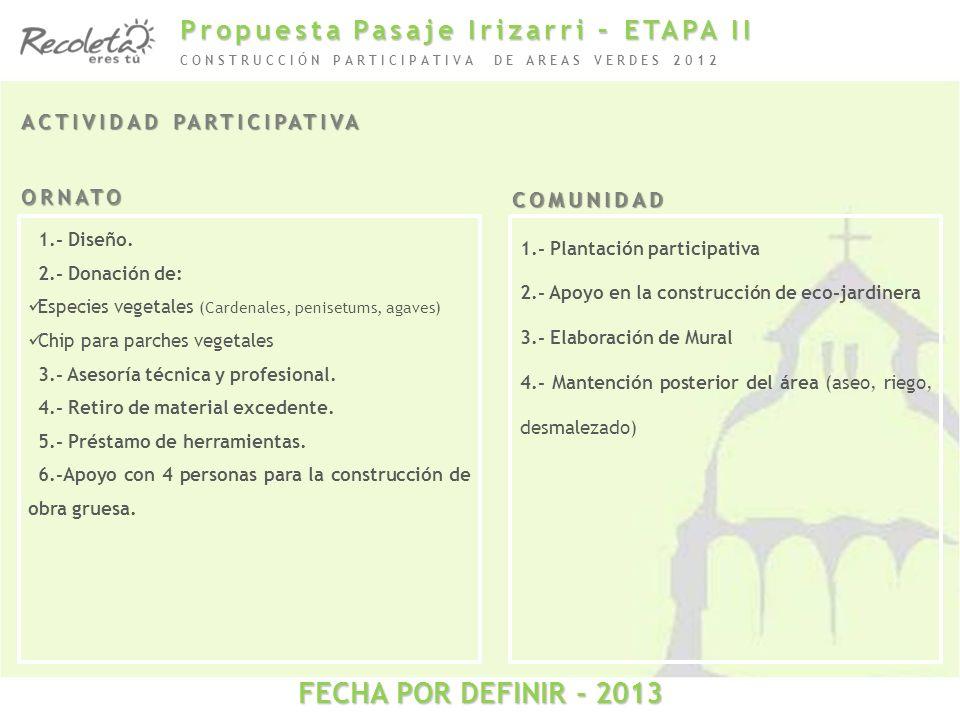 ACTIVIDAD PARTICIPATIVA CONSTRUCCIÓN PARTICIPATIVA DE AREAS VERDES 2012 1.- Diseño. 2.- Donación de: Especies vegetales (Cardenales, penisetums, agave