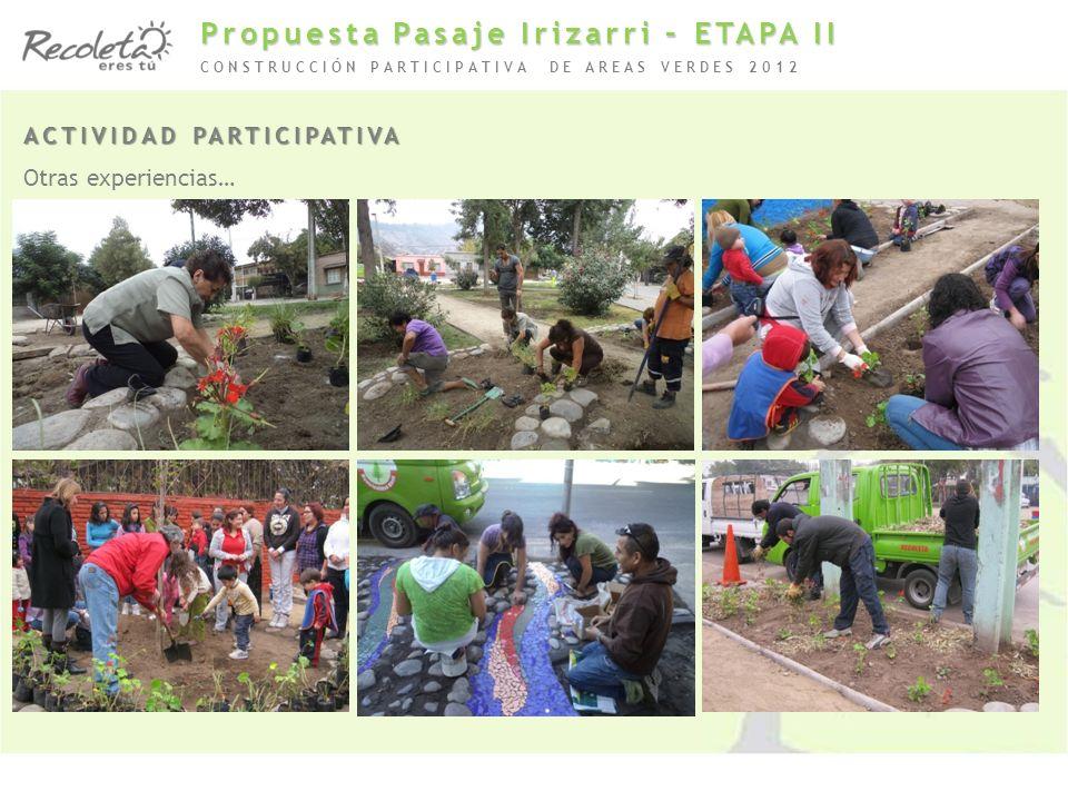 ACTIVIDAD PARTICIPATIVA Otras experiencias… CONSTRUCCIÓN PARTICIPATIVA DE AREAS VERDES 2012 Propuesta Pasaje Irizarri – ETAPA II