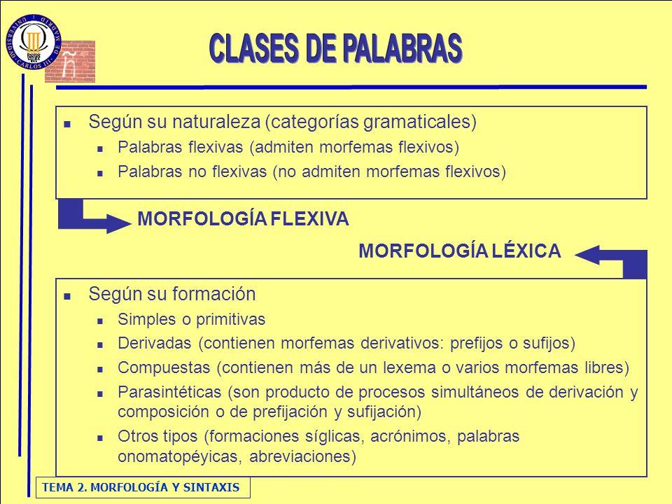 TEMA 2. MORFOLOGÍA Y SINTAXIS Según su naturaleza (categorías gramaticales) Palabras flexivas (admiten morfemas flexivos) Palabras no flexivas (no adm