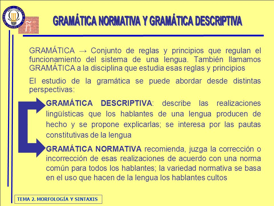 TEMA 2.MORFOLOGÍA Y SINTAXIS NORMA RAE GRAMÁTICAS DICCIONARIOS ORTOGRAFÍA...