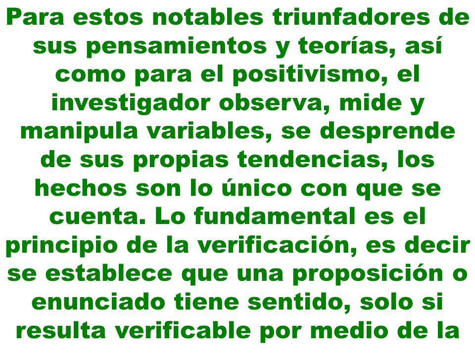 Para estos notables triunfadores de sus pensamientos y teorías, así como para el positivismo, el investigador observa, mide y manipula variables, se d