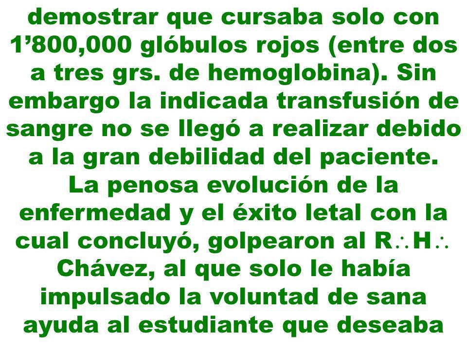 efectuar su tesis de investigación con la enfermedad Fiebre de La Oroya.
