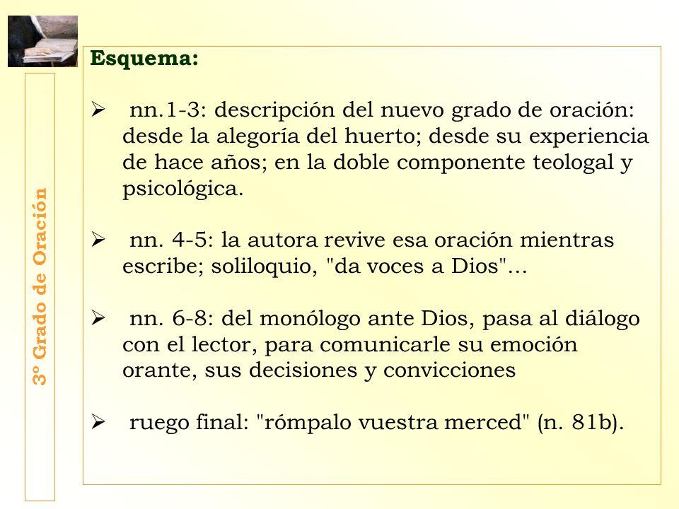 Esquema: nn.1-3: descripción del nuevo grado de oración: desde la alegoría del huerto; desde su experiencia de hace años; en la doble componente teolo