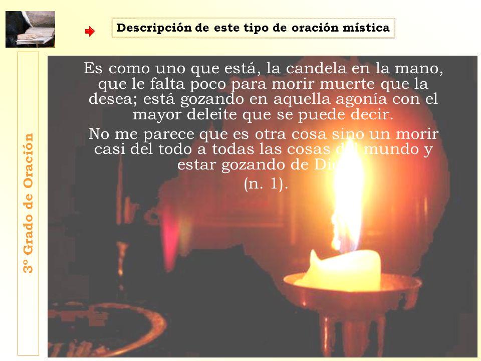 Es como uno que está, la candela en la mano, que le falta poco para morir muerte que la desea; está gozando en aquella agonía con el mayor deleite que
