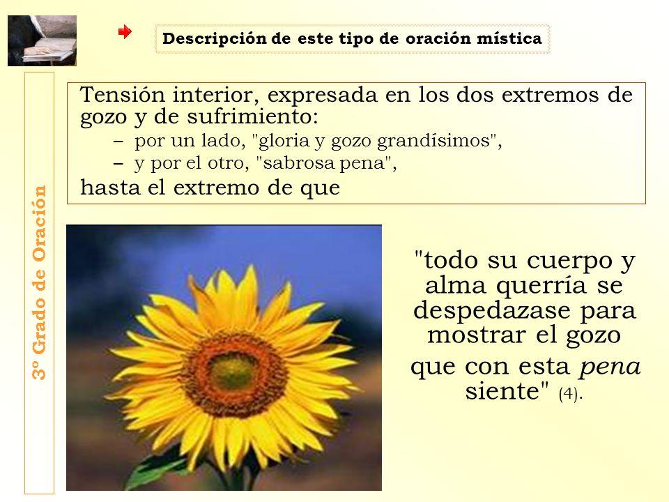 Tensión interior, expresada en los dos extremos de gozo y de sufrimiento: –por un lado,
