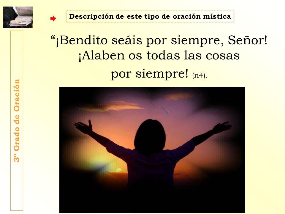 ¡Bendito seáis por siempre, Señor! ¡Alaben os todas las cosas por siempre! (n4). 3º Grado de Oración Descripción de este tipo de oración mística