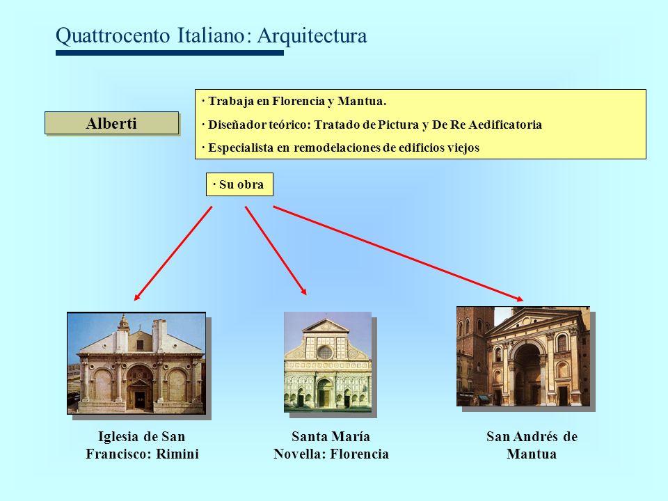 Quattrocento Italiano Alberti · Trabaja en Florencia y Mantua. · Diseñador teórico: Tratado de Pictura y De Re Aedificatoria · Especialista en remodel